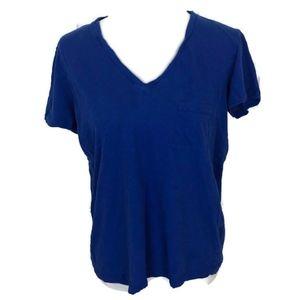 Madewell Women's Blue V-neck Short Sleeve T-Shirt